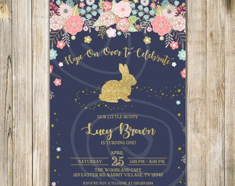 BUNNY 1st BIRTHDAY Invite, Easter First Birthday Invitation, Bunny First Birthday, Floral Spring Birthday, Some Bunny, Little Bunny Birthday