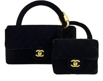 Rare Chanel Velvet Double Kelly Bag