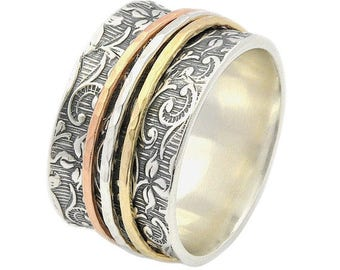 Triple Spinner Ring, Silver and Gold ring, Leaf Spinner Ring, Spinner Ring for women, Meditation Ring, Fidget Ring, Worry Ring, Gift for her