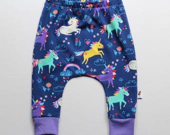 Rainbow unicorn Girls Baby Toddler Harems. Harem Slouch pants.