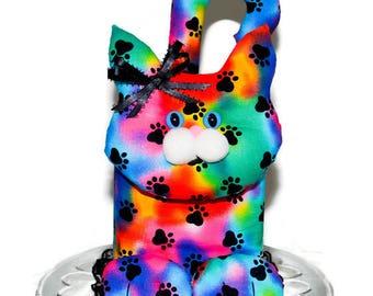 Kitty Cat Handmade Tissue Box Cover Multi Color Paw Prints Fabric Blue Eyes Pink Pom Pom Nose Black Lace Satin Bows Tissue Dispenser K72