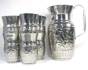 Metal Pitcher and Beakers/Lemonade Pitcher and Beakers/Metal Jug Set/Embossed Metal Pitcher/Metal Tumblers/Metal Drinking Set/Lemonade Jug