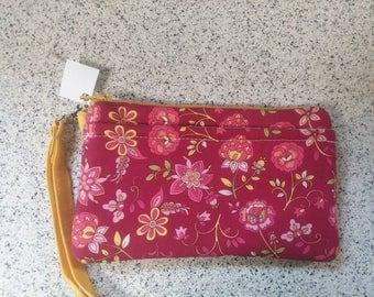 Handmade Pink Floral Design Print Wallet Wristlet Phone Case with strap