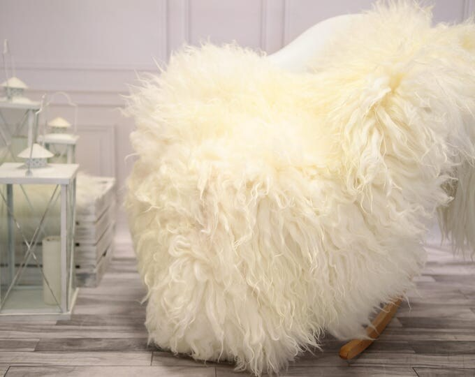Genuine Rare Mongolian Sheepskin Rug - Curly Fur Rug - Natural Sheepskin - Ivory Sheepskin #DECGOT30