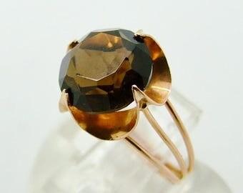 15% SALE - Vintage 14ct 14K Rose Gold Smokey Quartz Buttercup Ring Size 5 3/4 - L