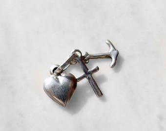 15% SALE - Vintage 925 Sterling Silver Faith, Hope & Charity Charm