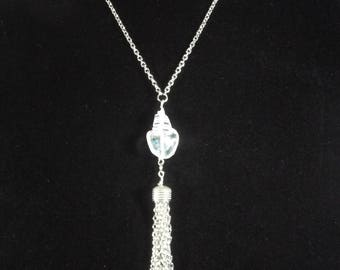 """Tassel necklace clear glass pendent ,you select length 28""""to 40"""" long chain necklace , stainless steel chain tassel necklace, cute, unique"""