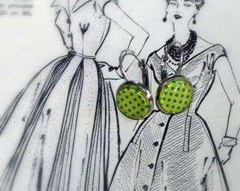 Small green earrings with polka dots