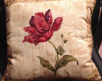 quilted pillow - peony