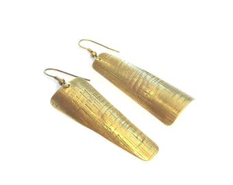 Ethnic earrings ear asymmetrical brass