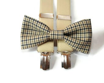 checkered bow tie & tan suspenders and bow tie groom suspenders kids suspenders baby suspenders men's suspenders toddler suspenders bowtie