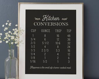 Kitchen Conversions Print, Kitchen Art, Rustic Decor, Rustic Kitchen, Farmhouse Decor