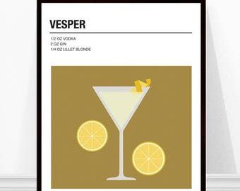 Vesper Print, Vintage Cocktail Print, Cocktail Recipe Art, Alcohol Print, Vesper Cocktail Recipe