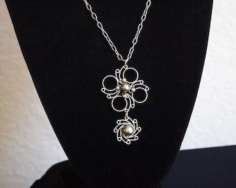 Vintage Modernist Pendant Necklace,Metal Pendant,Handcrafted Pendant Necklace