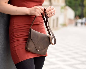 Leather crossbody bag, leather bag, small messenger bag, shoulder bag, crossbody purse, messenger bag, leather handbag, gift for her
