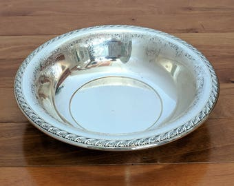 "Vintage Beautiful GORHAM Y514 Silver Large Round Etched Serving Bowl 10 1/2"""