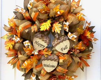 Fall Wreaths for front door, Deco Mesh Fall Wreath, Acorn Wreath, Happy Fall wreath, Welcome Wreath, Fall Door Wreath, Thanksgiving Wreath