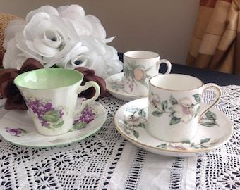 Set of three. Demitasse cups. Crown Staffordshire . Adderley.