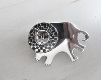 Vintage Signed Laurel Burch Silver Plated Bartholomew Lion Pin Checkered Mane