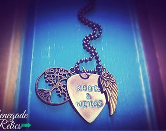 Rustic Guitar Pick Roots & Wings Hand Stamped Necklace, Miranda Lambert Lyrics