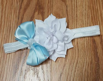 Blue and White hairbow - CInderella Inspired Hairbow - Infant Headband - Toddler Headband - disney hair bow