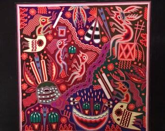 Wonderful 24'' x 24'' Huichol Indian Yarn Painting Mexican Folk Art Offerings