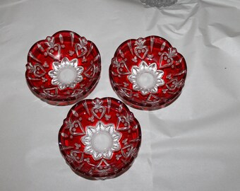 Three Vintage Decorative Pieces or Bowls, They are Crystal They Each Come With Papers, They are a Studio Crystal Collection, Red Decoration