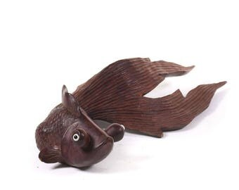 Vintage Wooden Carved Goldfish - FREE SHIPPING