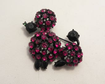 Vintage Ruby Red Rhinestone Japanned Poodle Dog Brooch