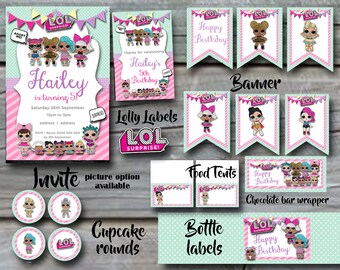 LOL Surprise Birthday Party Pack White - Invitation, Cupcake rounds, Banner, Food tents, Lolly labels, Chocolate Wrapper