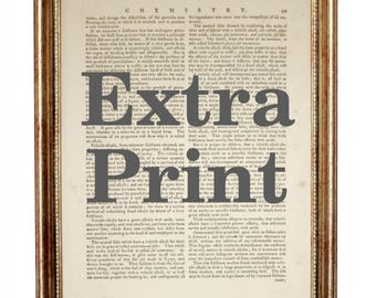 Extra Print on Vintage Dictionary Page 10'' x 8'' from Antique Book