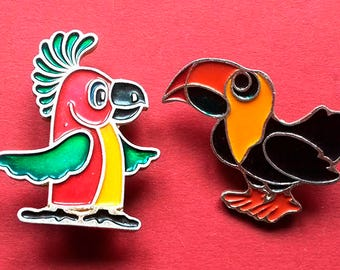 Parrot Pin.  Pick from set. Vintage metal collectible badge, Animal, Soviet Vintage Pin, Vintage Badge, Made in USSR, 1980s
