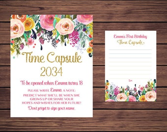 Floral Time Capsule Sign and Card, First Birthday Time Capsule, Baby's Time Capsule Navy Pink Gold Floral PDF Printable 891