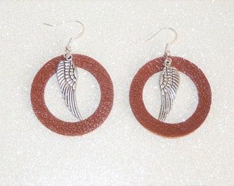 Earrings ' earrings Silver 925/camel leather, silver wing Rockglam hoop clip