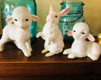 Adorable Trio oF Vintage Lefton Easter Porcelain Figurines, Two Sheep and One Bunny Rabbit, NJ Esate.