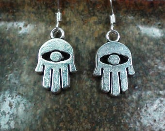 Silver All-Seeing Eye Hand of Hamza Good Luck & Protection Charms Unisex Dangle Earrings .925 Sterling Silver Ear Wire