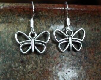Silver Butterfly Charm Unisex Dangle Earrings .925 Sterling Silver Ear Wire