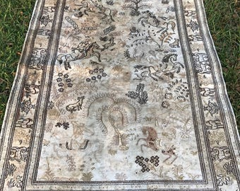 Turkish Hereke Pictorial silk rug signed 4x6.5