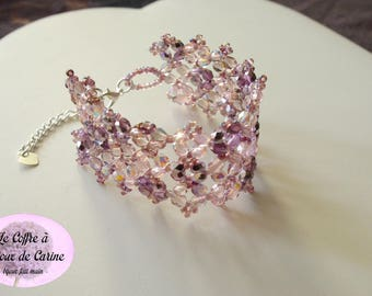 And Parma violet - Crystal bracelet Crystal Cuff Bracelet Christmas holiday wedding