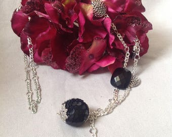Silver mesh, black beads necklace