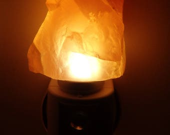 Automatic Sensor Amber Calcite  LED Gemstone Night Light -- Crystals//Minerals//Geodes