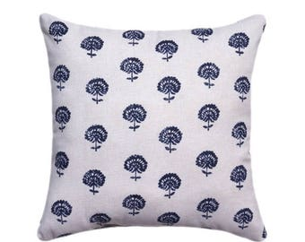 SALE Indigo and Tan Hand Block Print Decorative Designer Pillow Cover, Accent Cushion Cover, Boho Style, Navy blue, Natural Cream Floral Pil