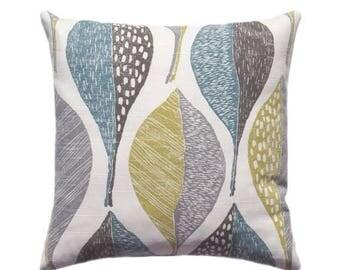 SALE Woodblock Leaf Rain Throw Pillow, Rain Leaves Golden Pillow Cover, Teal Accent Pillow, Gray decorative Pillow, Robert Allen Throw Pillo