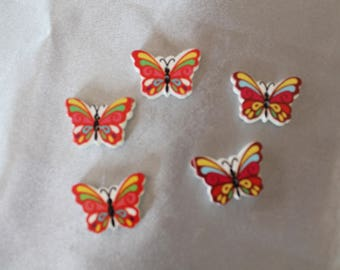 set of six, button, red, multicolor butterfly, 25 mm in diam.