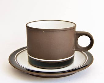 Vintage Hornsea Lancaster Vitramic Contrast Design, Tea Cup Saucer Duos