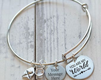You are My World Wire Adjustable Bangle Bracelet