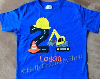 Digger Birthday Shirt, Construction Birthday Shirt, Digger with Cone Birthday Shirt