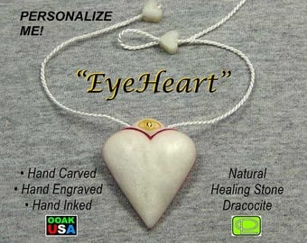 Engraved stone heart pendant with all seeing eye, personalized initials available