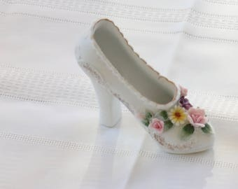 Vintage Lefton White Porcelain Bisque Shoe