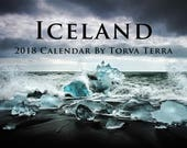 2018 Wall Calendar - Iceland - Monthly Landscape & Wildlife Art - Photography by Torva Terra